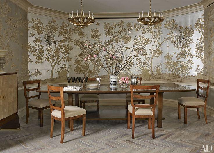 Dining room with gracie wallpaper chevron floor