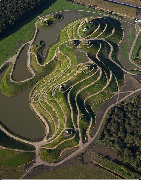 charles jencks  cosmic garden  landform  grass  land art  grass  play  playground
