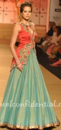 Something like this with slightly longer in back but shorter in front, can we have chiffon only in back of shirt? and front ends after overlapping lehenga a little?  #AshimaLeena rich coral seagreen color combo #lehenga