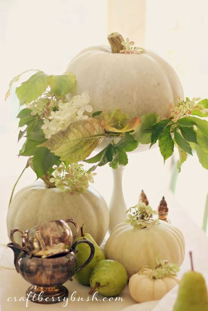 Fall Vignette with White Pumpkins and Pears