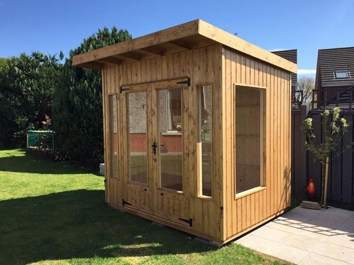 """Another custom made summer house delivered just in time for the good weather ☀️  8x6 with vertical 18mm exterior cladding.   4mm toughened glass throughout.  Lock and handle set.  Oak floor covering.   This design can be made in any size.   Pm or 07717575552 for details.   """"Quality is the difference"""" #wooden #woodenaccessories #woodcraft #woodwork #woodcraft #craft #diy #furniture"""