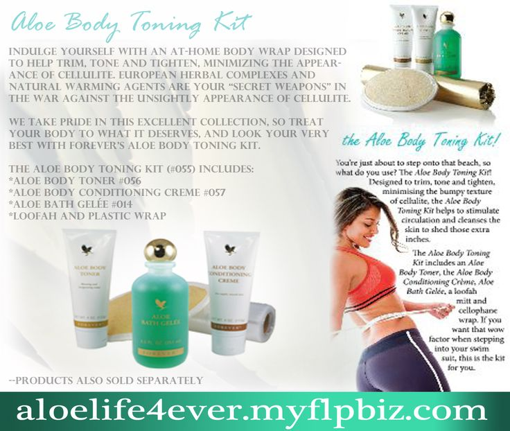 Aloe Body Toning Kit #055  Indulge yourself with an at-home body wrap designed to help trim, tone and tighten, minimizing the bumpy texture of cellulite.    Learn more at www.aloelife4ever.myflpbiz.com