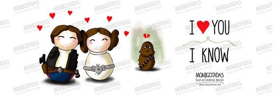 Taza Star Wars  Han Solo Leia Chewie por Monigotadas en Etsy