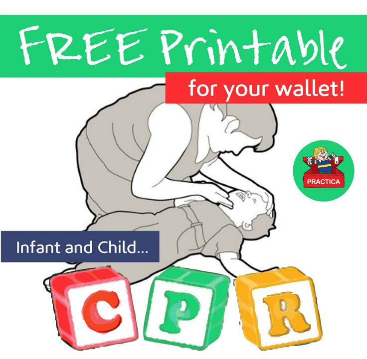FREE wallet printable for remembering how to administer Infant and Child CPR!