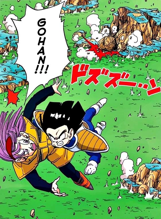 Gohan saves Bulma from the crumbling Planet Namek