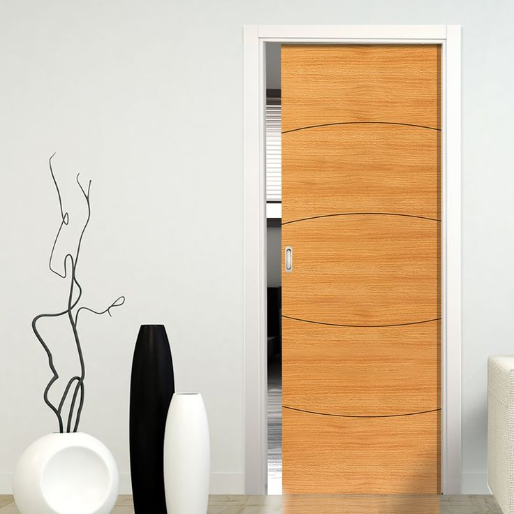 Single Pocket Elements Sol Oak sliding door system in three size widths.  #pocketdoor #oakpocketdoor #internalslidingdoor