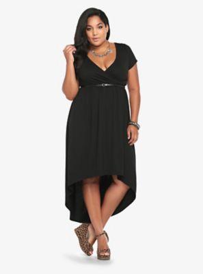 Belted Cap Sleeve Hi-Lo Dress
