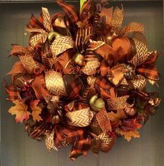 Fall Deco Mesh Wreath by CreativeDesignsJMH on Etsy