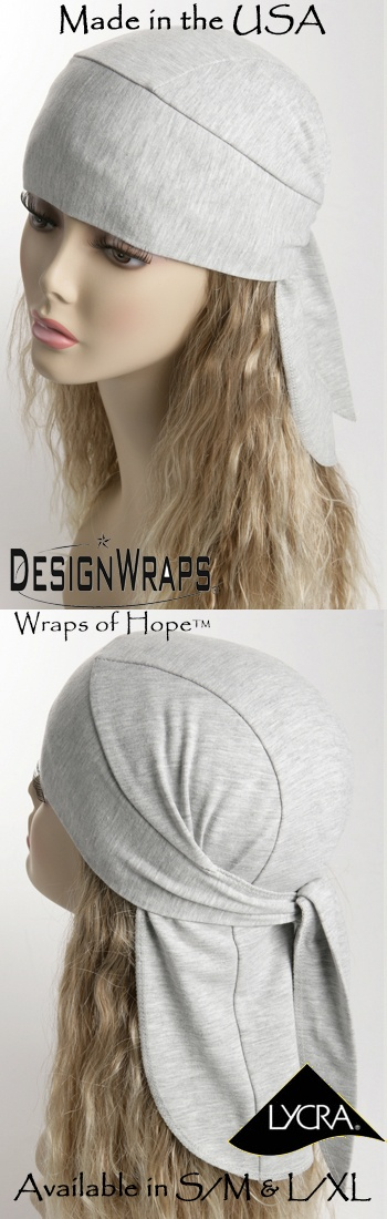 Chemo Total Head Wraps - Cotton/Poly/Lycra Full Coverage Heather Gray Stretch Do Rags Cancer scarf