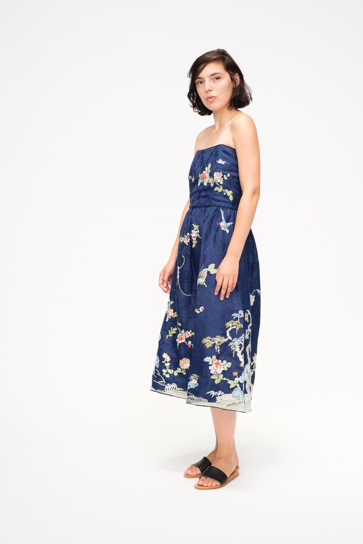 Sent to UK: Floral Embroidered Strapless Party Dress by Sea New York. #seanewyork #straplessdress #dress