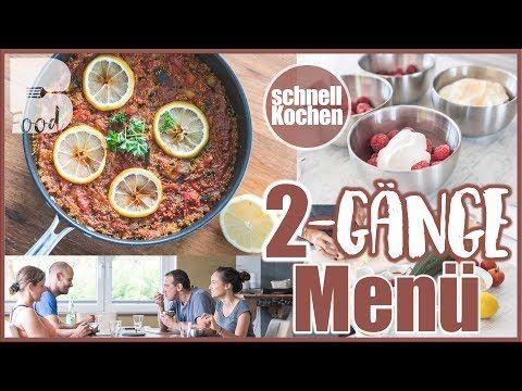 2 Gänge Menü - Quinoa Paella Rezept - Schneller gesunder Nachtisch - Mit Tischszenen ;) - YouTube