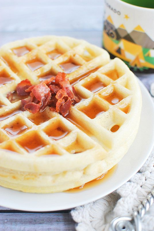 Maple Bacon Yeast Waffles - refrigerate the batter overnight for a quick and easy breakfast!