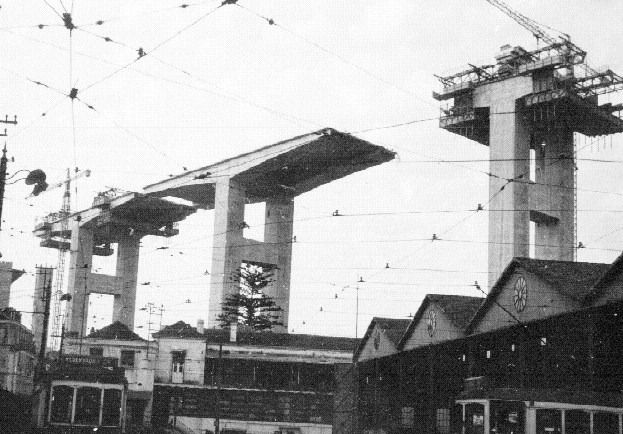 Building of Tagus River bridge.