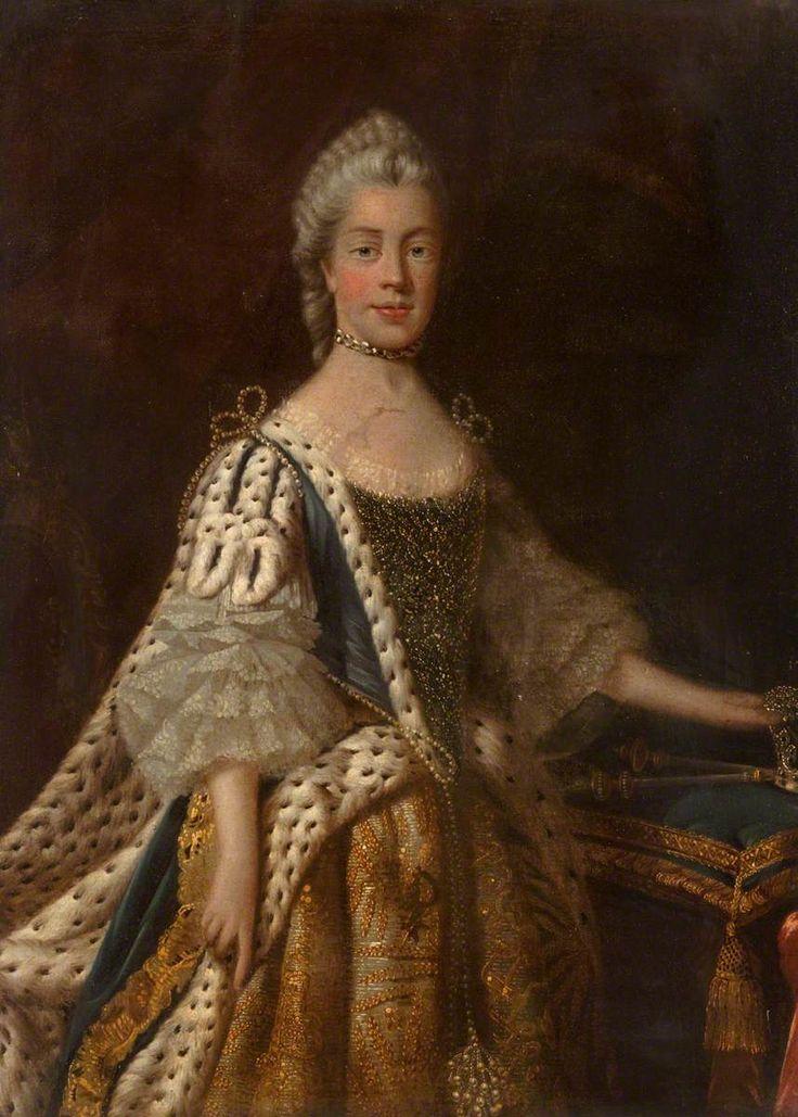 Queen Charlotte, Princess Sophia Charlotte of Mecklenberg-Strelitz (1744–1818), Queen Consort of George III - Studio of Allan Ramsay (1713-1784), 1761-1762. McLean Museum and Art Gallery.