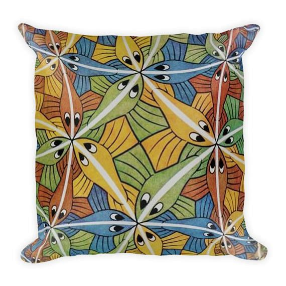 Colorful - Fun - Fish Design 18 x18 Square Pillow - Full Print - Fishing - Fisherman - Fish Lovers - Home - Garden - Kids Pillow