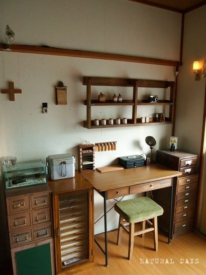 Ugh! Wish I knew more about this, the original web site is in Japanese. Very cool little vintage desk nook. Love all the vintage stuff. I have a couple of lib. card catalogs that this would be perfect for