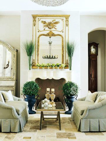 Symmetrical rooms lend a structured air, ideal for formal