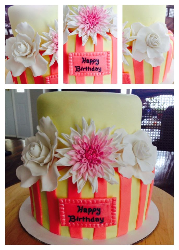 Gardenia's and dahlia's on this cake :)