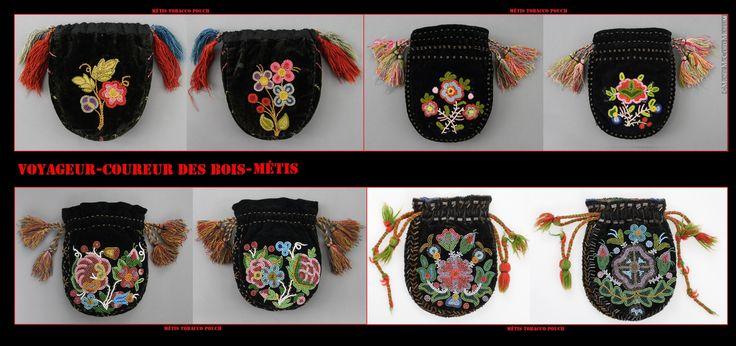 Borse Métis. La mancanza di tasche negli abiti dei Nativi veniva sopperita dall'uso di borse. Alcune borse erano concepite per usi specifici, come quelle usate per tenere il tabacco e l'occorrente per fumare. I Métis attingevano sia alla cultura europea, usando abiti forniti di tasche, che a quella indigena, confezionando vari tipi di borse.