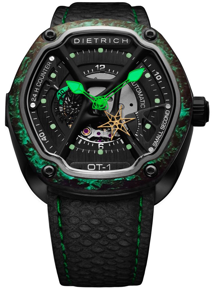 """Dietrich O.Time Watches w/ Colorful Forged Carbon Bezels - on aBlogtoWatch.com """"Forged carbon has been 'in' for a while, even though the material has been mostly reserved for but the most luxurious(-ly priced) brands. Dietrich is among the small but ever-growing army of very competitively priced brands to embrace this highly durable material and now adds some unique colors to it with the Dietrich O.Time Forged Carbon and its all-black or vividly colorful carbon bezel offerings..."""""""