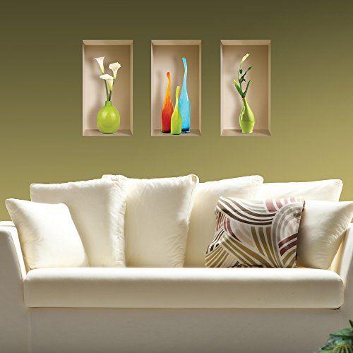 NEW Set 3 Pcs COLORED VASES Art Wall Sticker, 3D Visual Effect, Magic Niche Picture, Removable Reusable, DIY Vinyl Mural Image, Modern Home Decor, Tile Decals, Salon, Living Room, Kitchen the Nisha http://www.amazon.com/dp/B013YBJI5O/ref=cm_sw_r_pi_dp_U0REwb1DZHT30