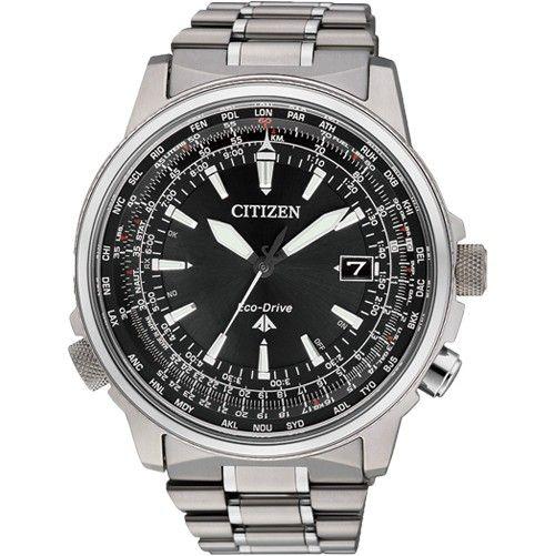 Montre Citizen Eco-Drive Radio Pilotée CB0131-59E, l'heure se synchronise automatiquement grâce au signal satellite, bracelet et boîtier en titane.