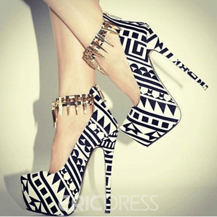 Fashionable Black & White Contrast Colour Coppy Leather High Heel Shoes|Material:Suede