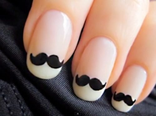 DIY nail art mustache nails - must do for babyshower