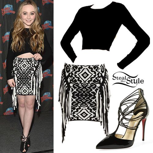 Sabrina Carpenter performed at Planet Hollywood in Times Square a few days ago wearing the RVN Long Sleeve Boxy Crop Top ($175.00), a Torn by Ronny Kobo Daryl Jacquard Fringe Mini Skirt ($154.80), and shoes by Christian Louboutin (not available online, similar style pictured).  Get the look for less with a long sleeve crop top from Forever 21 ($6.90), tribal mini skirt from Forever 21 ($7.04), and caged booties from Charlotte Russe ($21.99).
