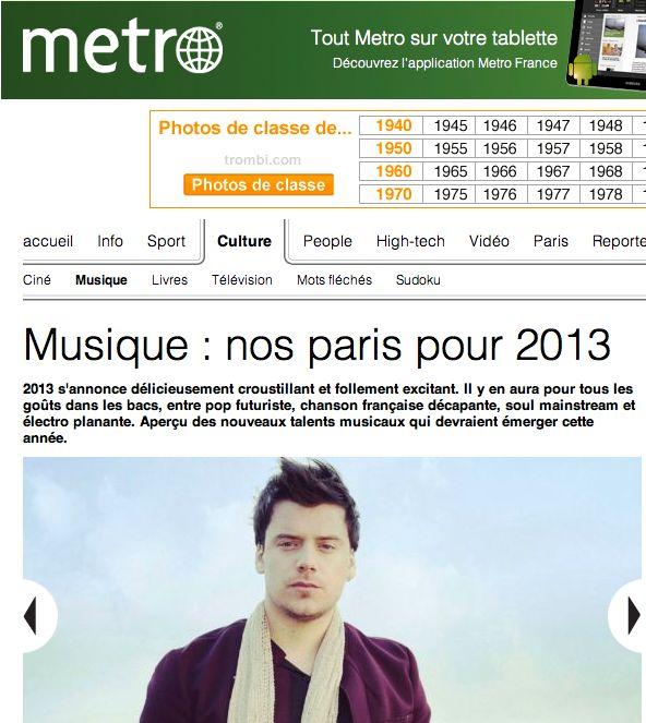 Metro France parie sur Brice Conrad pour 2013 ! http://www.metrofrance.com/culture/musique-nos-paris-pour-2013/mmaq!ele0NvoizxDo2/