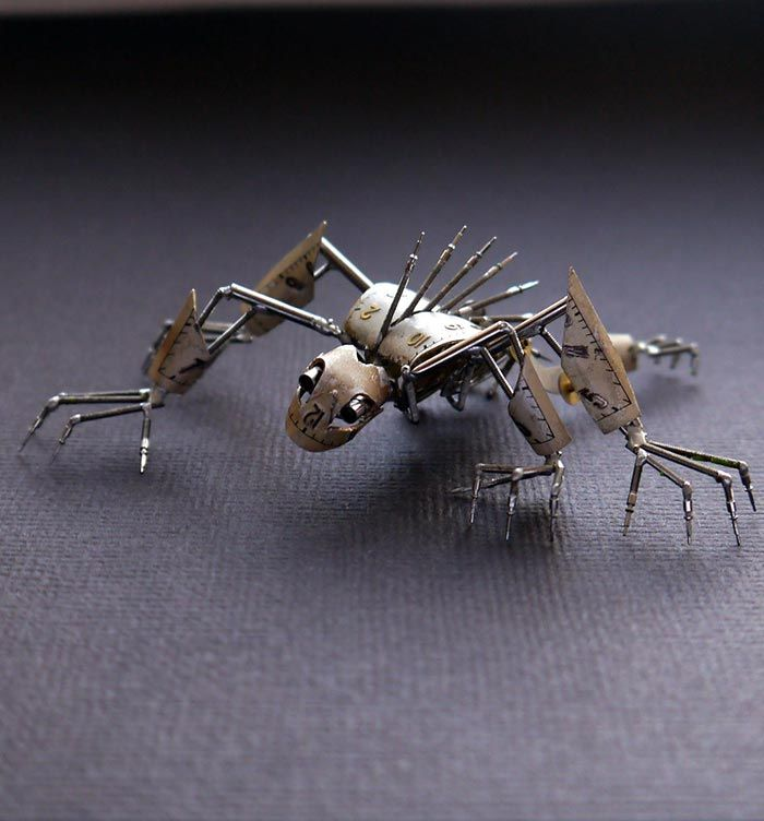Beautiful Mechanical Creatures Made From Recycled Watches.