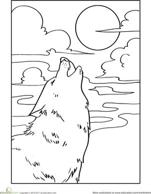 Howling Wolf Coloring Page | Wolf Howling, Wolves and ...