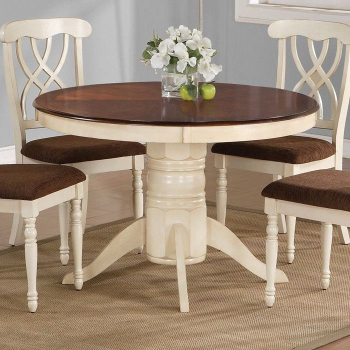 Cream Colored Dining Room Sets Luxury Thinking About Painting Our Kitchen Table I Like The In 2020 Kitchen Table Settings Round Dining Room Painted Dining Table