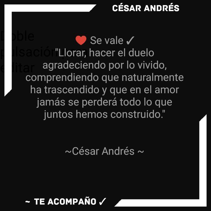 """♥️ Se vale ✓ """"Llorar, hacer el duelo agradeciendo por lo vivido, comprendiendo que naturalmente ha trascendido y que en el amor jamás se perderá todo lo que juntos hemos construido.""""   ~César Andrés ~"""