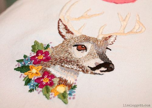 Dear DeerFloral Garlands, Embroidery Pattern, Dear Deer, Body Art, Cuppa Teas, Needlepoint Embroidery, Needle Art, Embroidered Deer, Pretty Embroidery