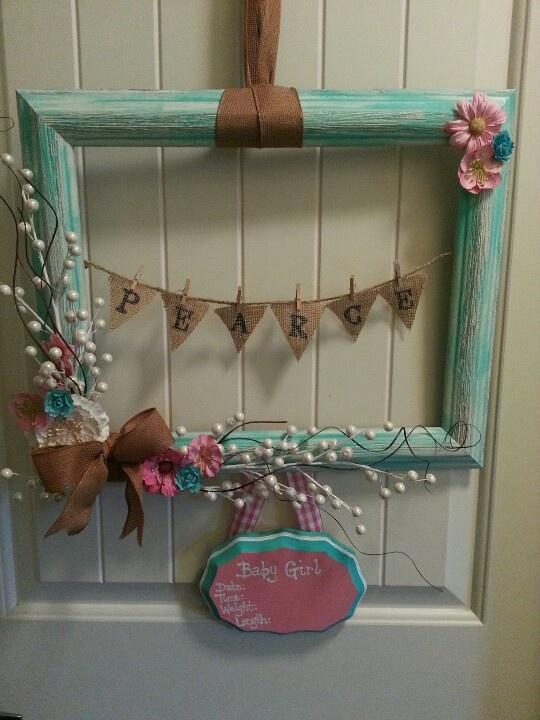 Baby Wreath. love the color and the little pennant with name!!!