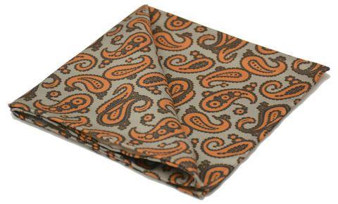 IDRIS Printed Silk Pocket Square #pocketsquare #pocketsquares #silk #squares #silksquare #handkerchief #silkhandkerchief #handkerchiefs #britishmade #british #made #madeinuk #luxury #menswear #accessories #wedding #style #outfit #inspiration #groom #groomswear #matchingset #grey #brown #orange #paisley