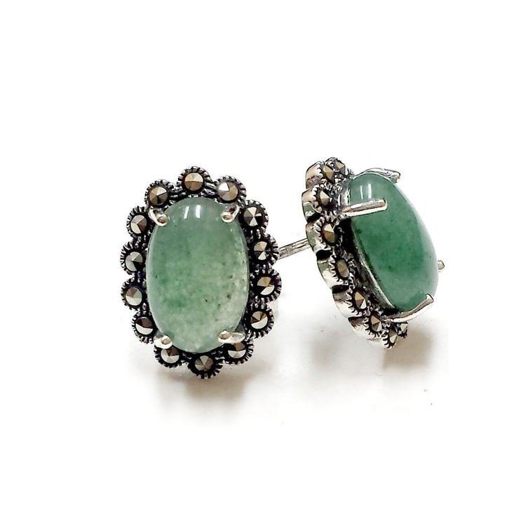 .925 Sterling Silver New Jade with Marcasite Stud Earrings: