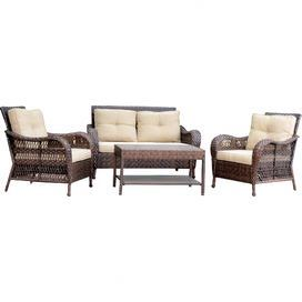 4-Piece Calvin Patio Seating Group in Tan