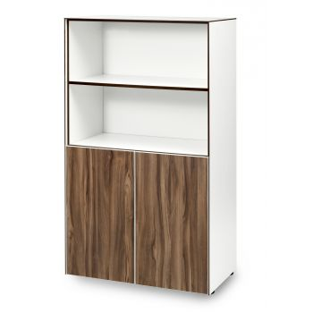 The MANO+ range includes a selection of bookcases, wall units and cupboards in a range of sizes. All come on adjustable glides and feature push doors with no handles. All units come with adjustable shelves and a fixed shelf at 800 high. These units beautifully compliment the MANO+ desking range.