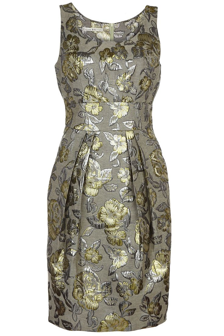 Grace dress, metallic texture embossed flower dress in gold