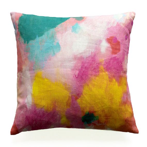 cotton/linen cushion with feather insert . 'hopeful'