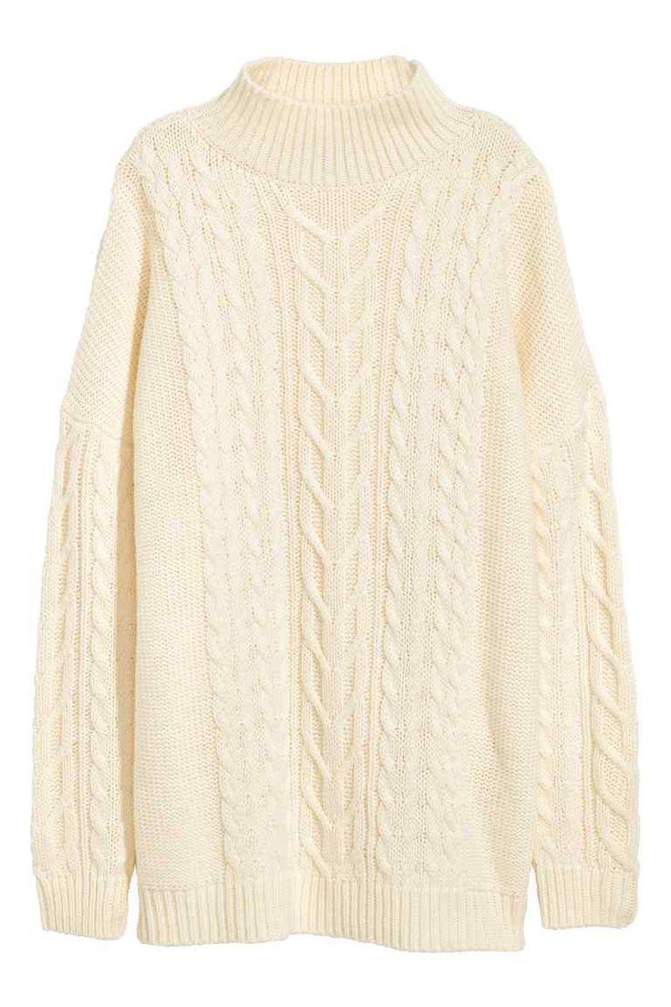 Sweter w warkoczowy splot - Naturalna biel - ONA | H&M PL