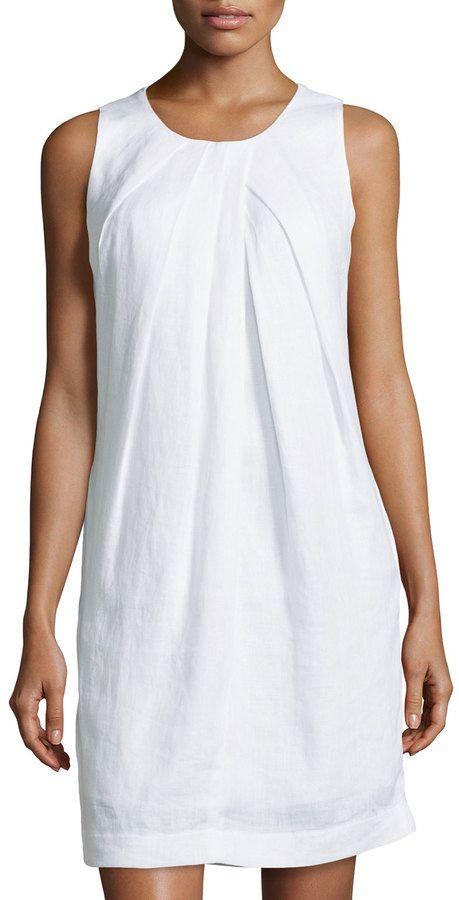 Neiman Marcus Sleeveless Linen Shift Dress, White