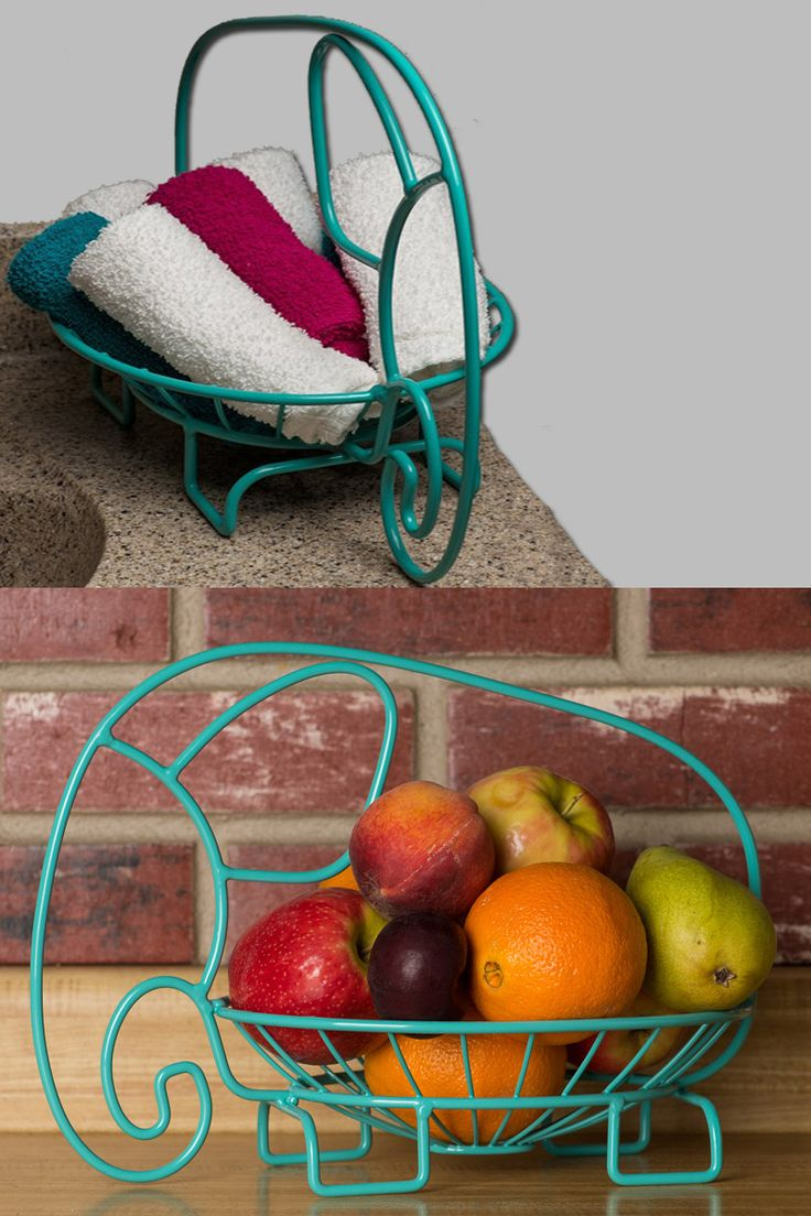 Aqua Colored Fruit Bowl - Cute Elephant Design!