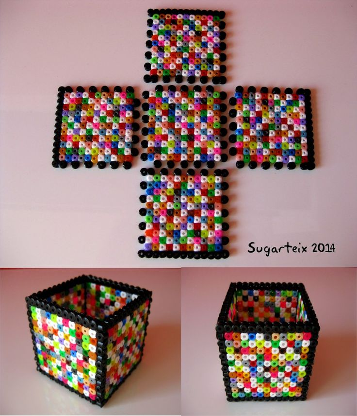Colorful pencil holder hama beads by Sugarteix