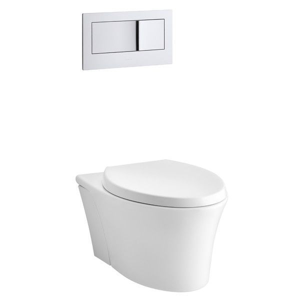 $392.55  Kohler Veil One-Piece Elongated Dual-Flush Wall-Hung Toilet with Reveal Quiet-Close Seat & Reviews | Wayfair