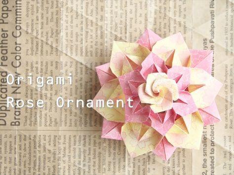 折り紙のモチーフとして大人気のバラ。 そのバラをてっぺんに飾ったバラのオーナメントです。 ゴージャスな雰囲気な…