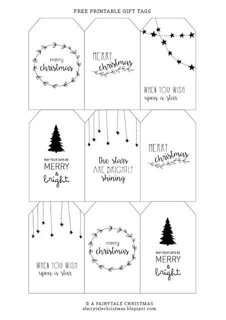 Free printable gift tags - Fairytale Christmas Modern black and white