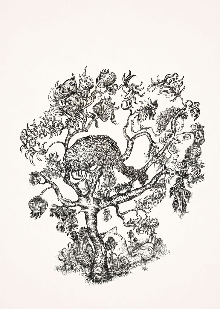 "ink on paper ""under the tree"""